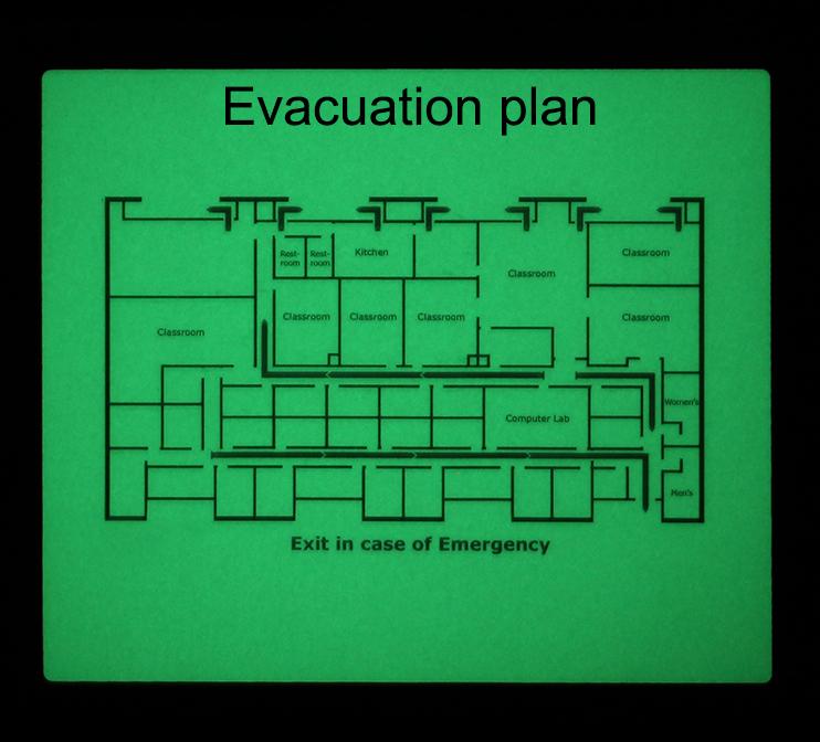 Glow in the dark plattegronden evacuatie plan