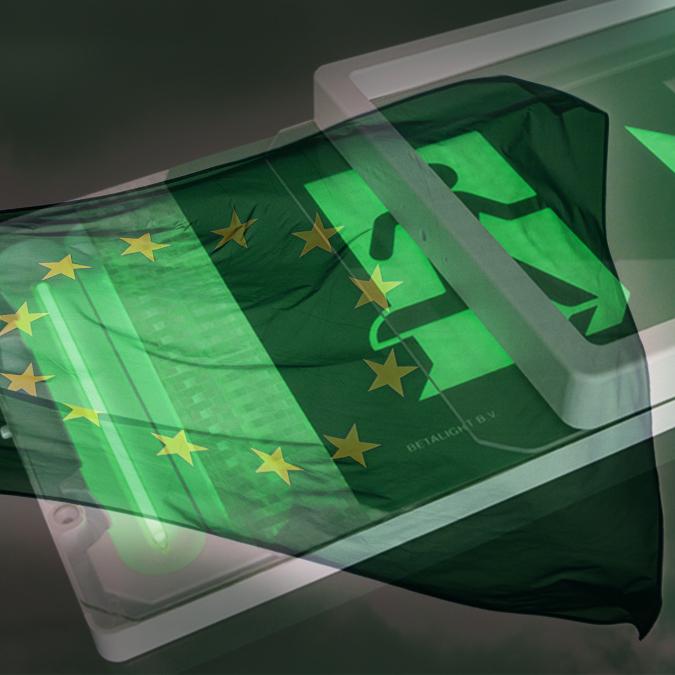 Europese Richtlijnen, pictogram, kleur vluchtwegaanduiding