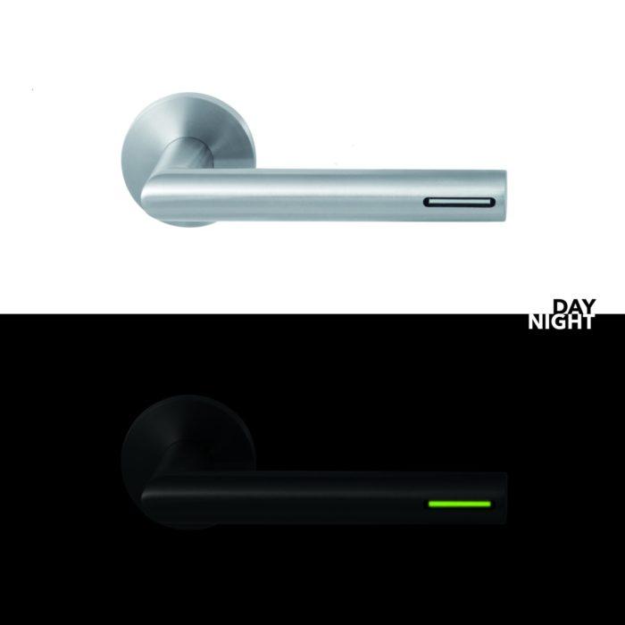 Roestvrijstalen deurkruk voorzien van lichtbron – rond
