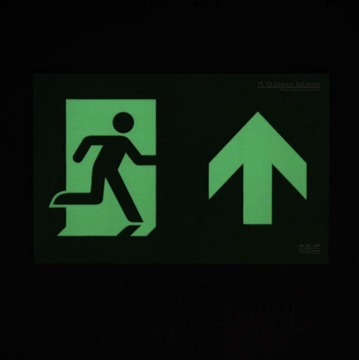 Photoluminescent emergency lighting straight ahead or upwards