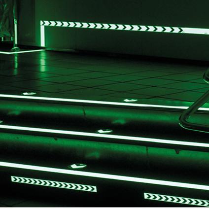 photoluminescent / glow in the dark floor arrow with 3M turf layer