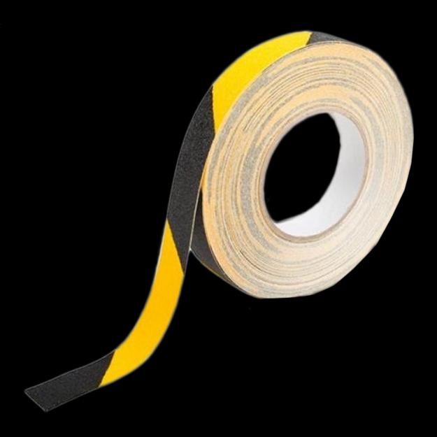 Antislip tape zwart geel gestreept_rol