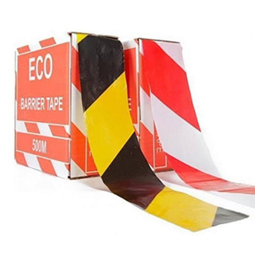 Barrier tape yellow / black and red / white striped ribbon