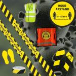 Corona stickers afstand houden tape,borden hesjes