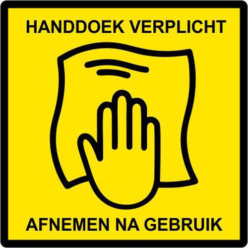 Sportschool sticker handdoek verplicht, afnemen na gebruik