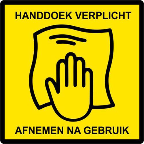 Turnhalle Aufkleber Handtuch obligatorisch, nach Gebrauch entfernen