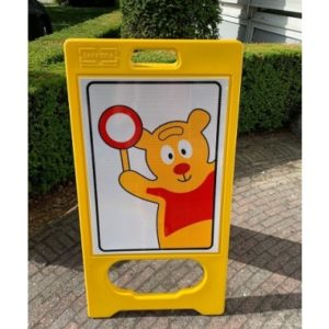 Traffic Teddy A-Bor, residential areas sign for newly playing children