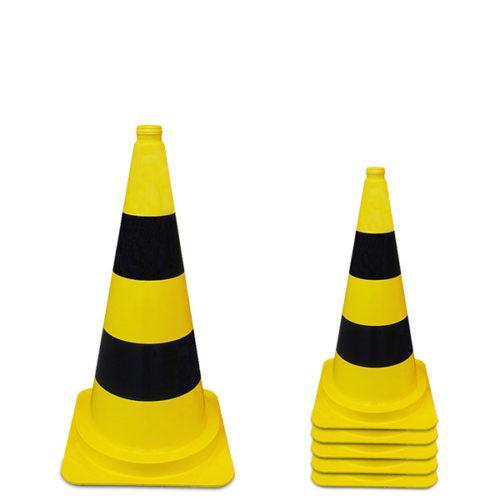 Fleckkegel-50cm-gelb-schwarz-PVC-Corona-COVID-19 - Bauer
