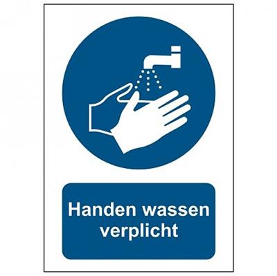 Handen wassen verplicht sticker formaat A3 A4 A5 corona bestrijding
