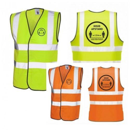 Gelbe und orangefarbene Sicherheitsweste halten Abstand und bekämpfen die Korona