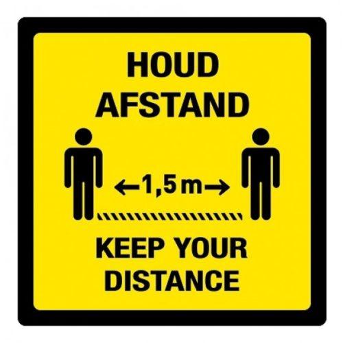 Tweetalige vloersticker, houd afstand / keep your distance