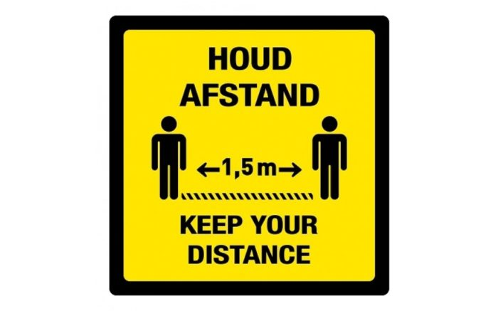 Bilingual floor sticker, keep your distance / keep your distance