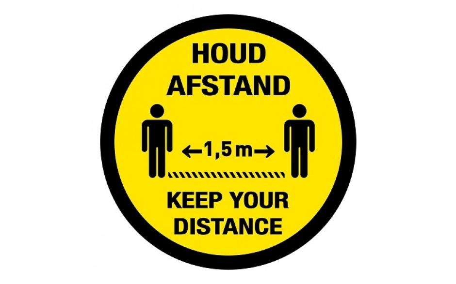Houd afstand / keep your distance vloersticker internationaal twee talen