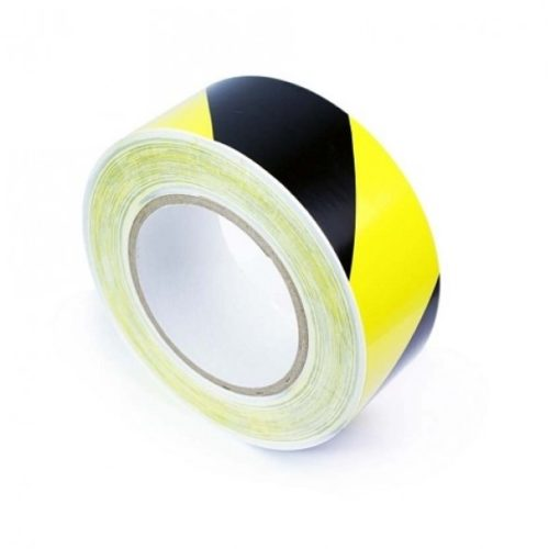 Floor tape 50 mm yellow black striped corona control