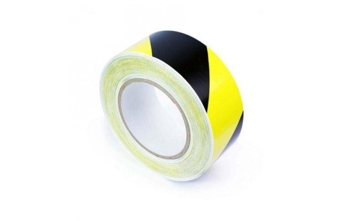Bodenband 50 mm gelb schwarz gestreifte Koronakontrolle