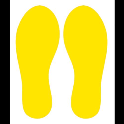 Yellow footsteps keep corona at bay