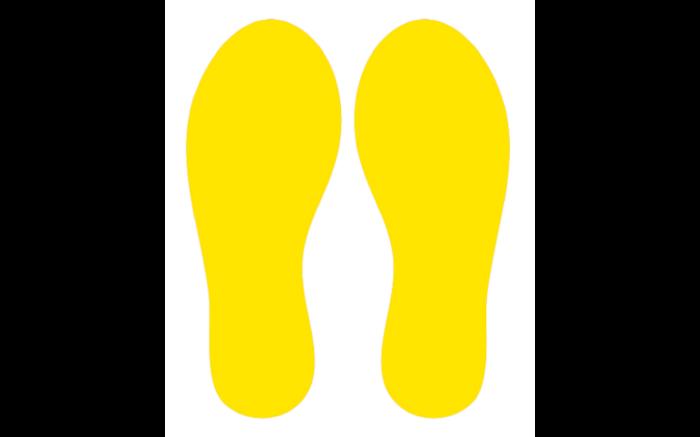 Voetstappen geel houd corona op afstand