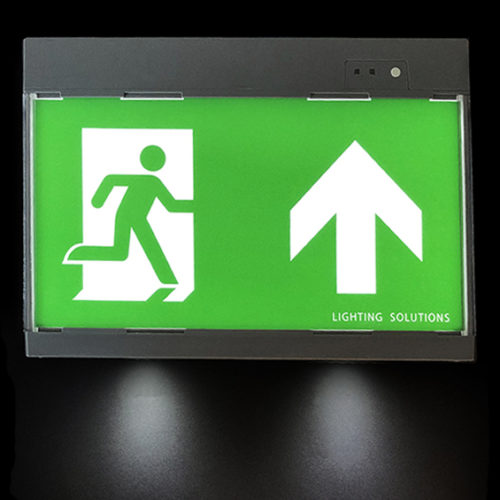 Electric escape route signage with gray emergency lighting