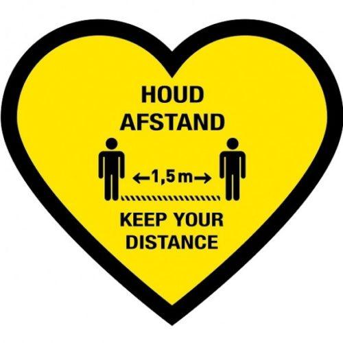 Corona vloersticker hart, houd afstand/ keep your distance