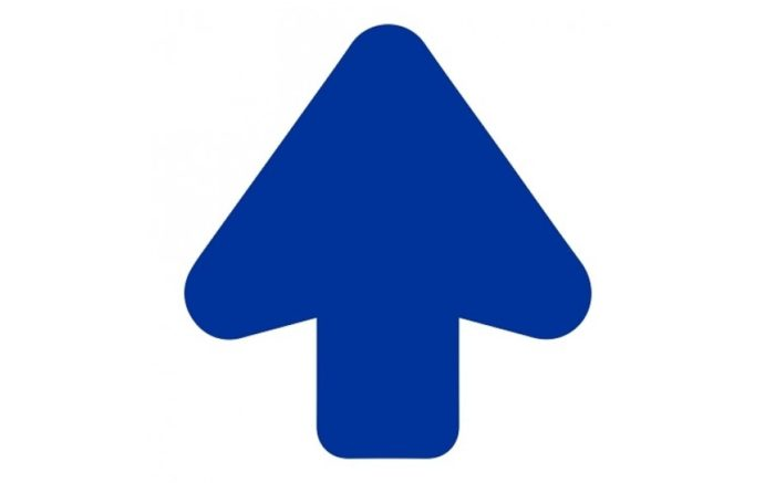 Floor arrow cut out blue - anti-slip route indication, route marking