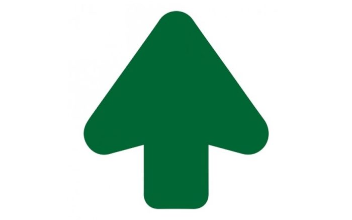 Floor arrow green 200 mm cut out - anti-slip - super grip. Ideal indication of routes