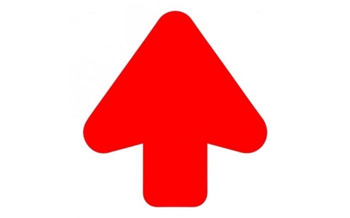 Bodenpfeil rot + Bodenlaminat (rutschfest) Pfeil 200 mm ausgeschnitten - rutschfest - Super Grip-Route-Markierung