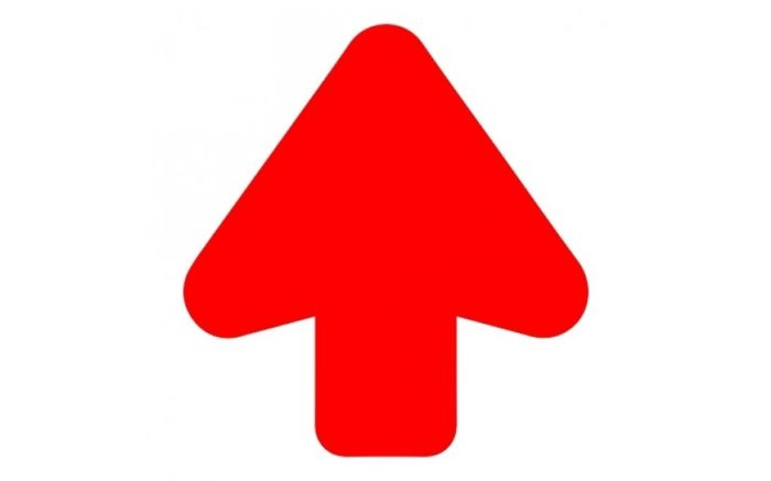 Floor Arrow red + floor laminate (anti-slip) Arrow 200 mm cut out - anti-slip - super grip- route marking
