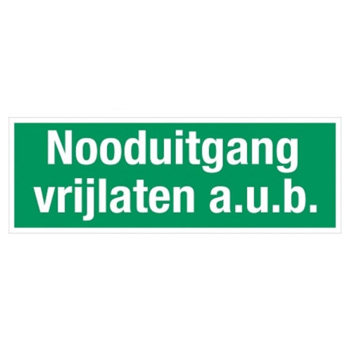 Nooduitgang vrijlaten a.u.b. sticker glow in the dark