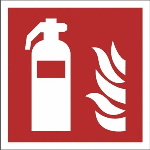 Fire-safety-signs-ISO-7010-of-aluminum-Fire extinguisher-F001-escape-route-indications.nl-glow-in-the-dark-red