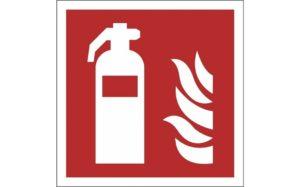 Brandschutzzeichen-ISO-7010-aus-Aluminium-Feuerlöscher-F001-Fluchtweg-Anzeigen.nl-leuchten-im-Dunkel-Rot