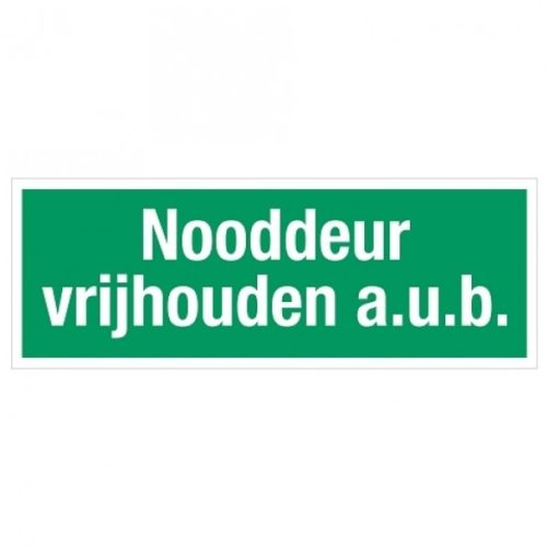 Nooddeur vrijhouden aub sticker glow in the dark