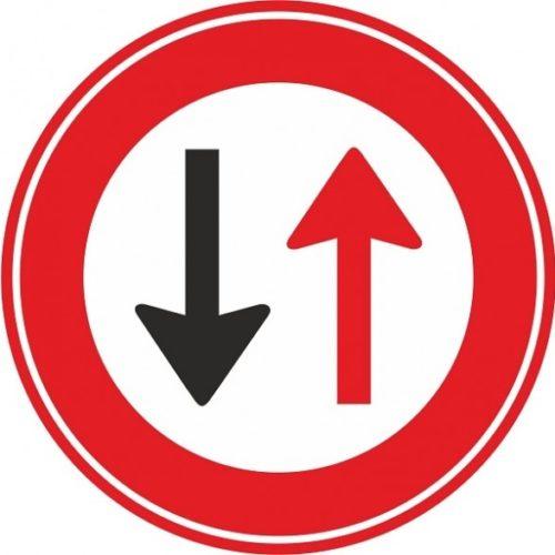 Oncoming vehicle has priority floor sticker