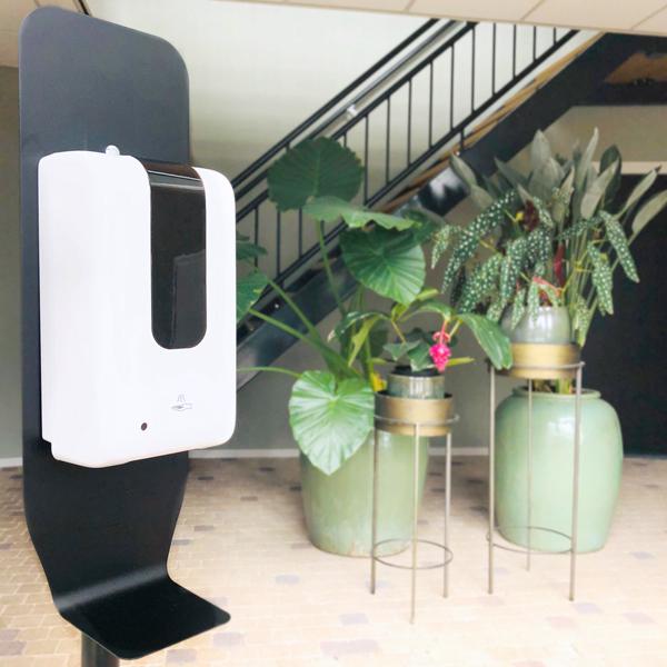 Automatische hygiene desinfectie zuil, dispenser met sensor, automatische dispenser, hygiene station, hygiene paal, desinfectie paal, handen desinfecteren