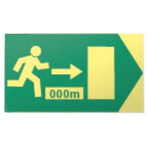 Der Tunnel-Notausgang mit Anzahl der Meter für Tunnel
