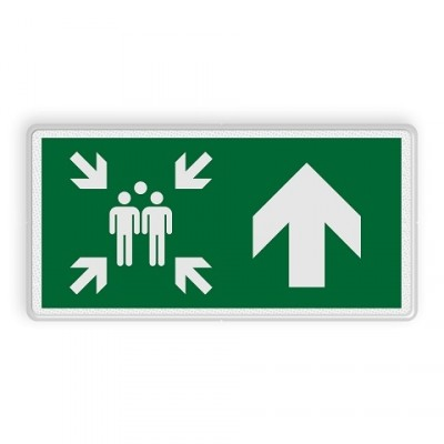 Assembly point sign straight ahead