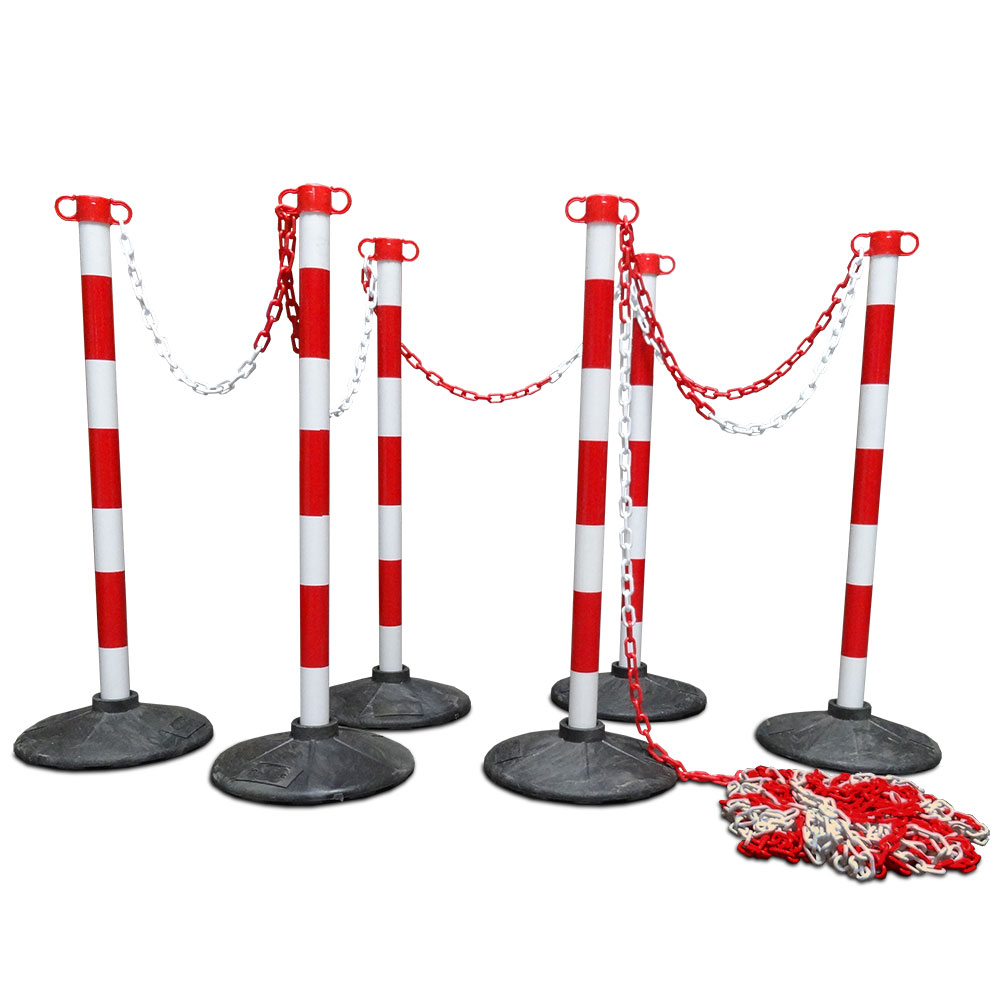 Chain pawl set-Red-White-heavy-foot escape route indicating barrier gates keep distance