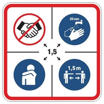 Kombinationspiktogramm, Hände nicht schütteln, Hände waschen, Husten im Ellbogen, 1,5 Meter entfernt