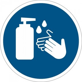 Vloersticker handen desinfecteren verplicht rond