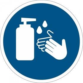 Floor sticker hands disinfection compulsory round