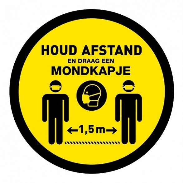 Abstand halten-rund-Korona-Aufkleber-covid-19-Aufkleber-Beleuchtungslösungen-Mundkappe- obligatorisch-vluchtwegaanduidingen.nl