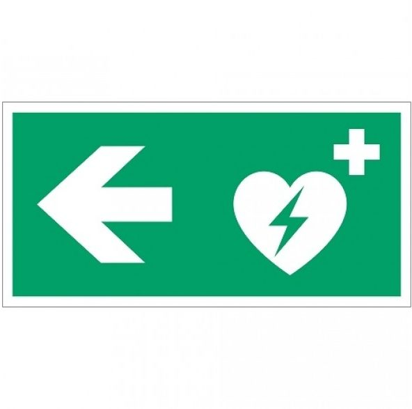 AED turn right - safety pictogram - first aid pictogram - route indication - escape route indications