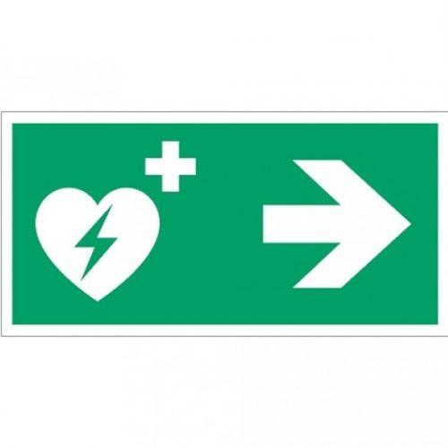 AED rechts abbiegen - Sicherheitssymbol - Erste-Hilfe-Symbol - Routenanzeige