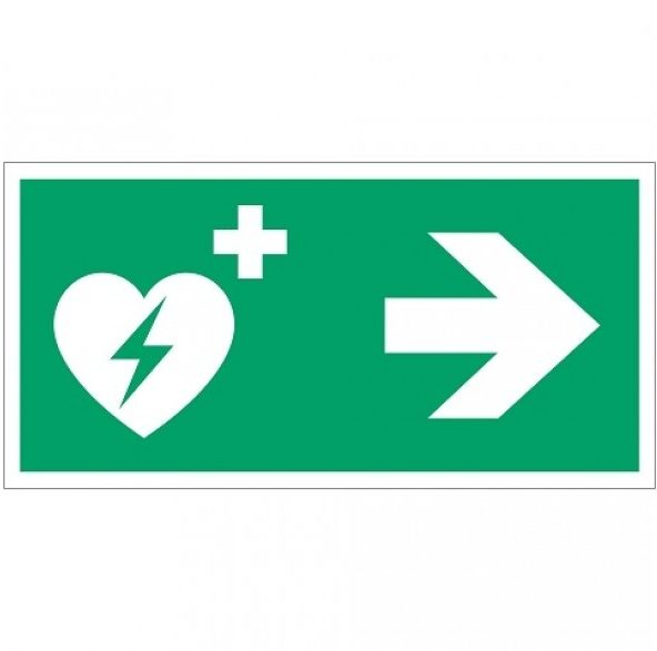 AED turn right - safety icon - first aid icon - route indication