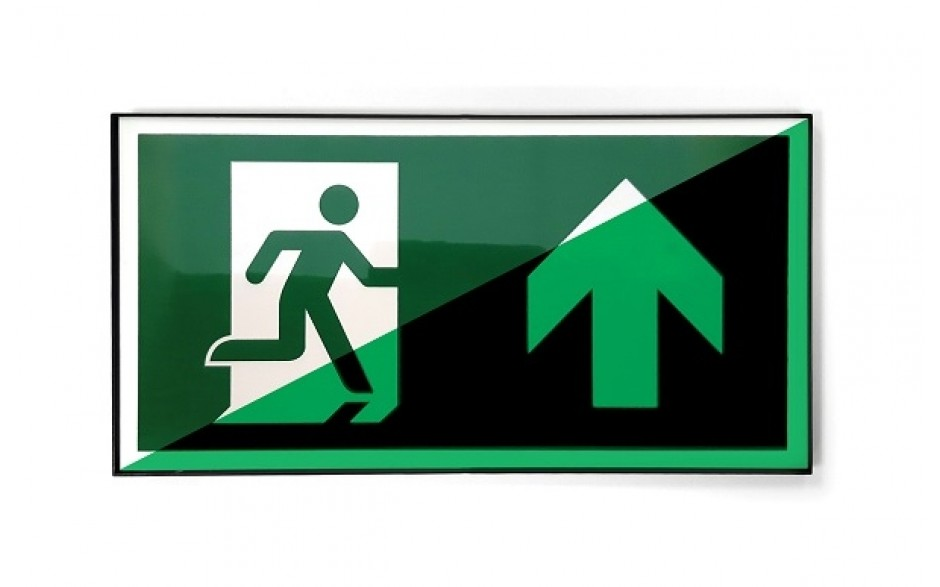 Emergency exit sign straight ahead