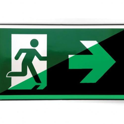 Escape route sign glow in the dark